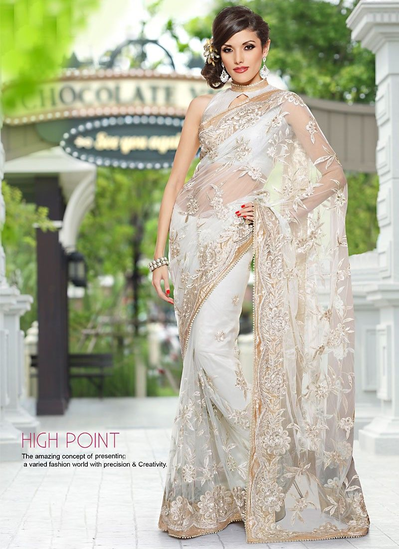 Aesthetic Off White Embroidered Saree