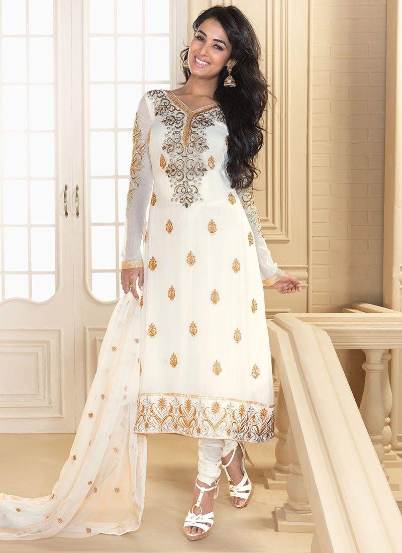 Alluring White Salwar Kameez