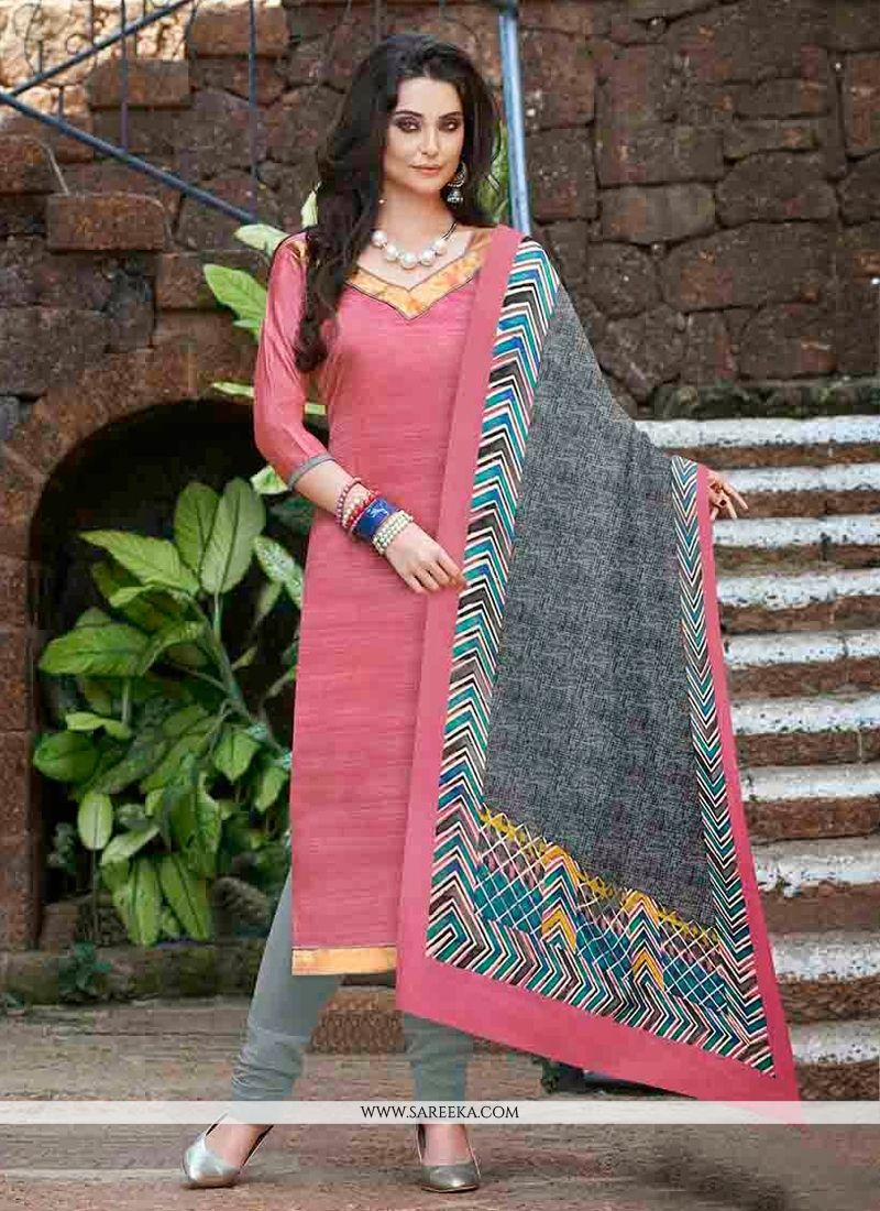 Pink Bhagalpuri Silk Churidar Suit