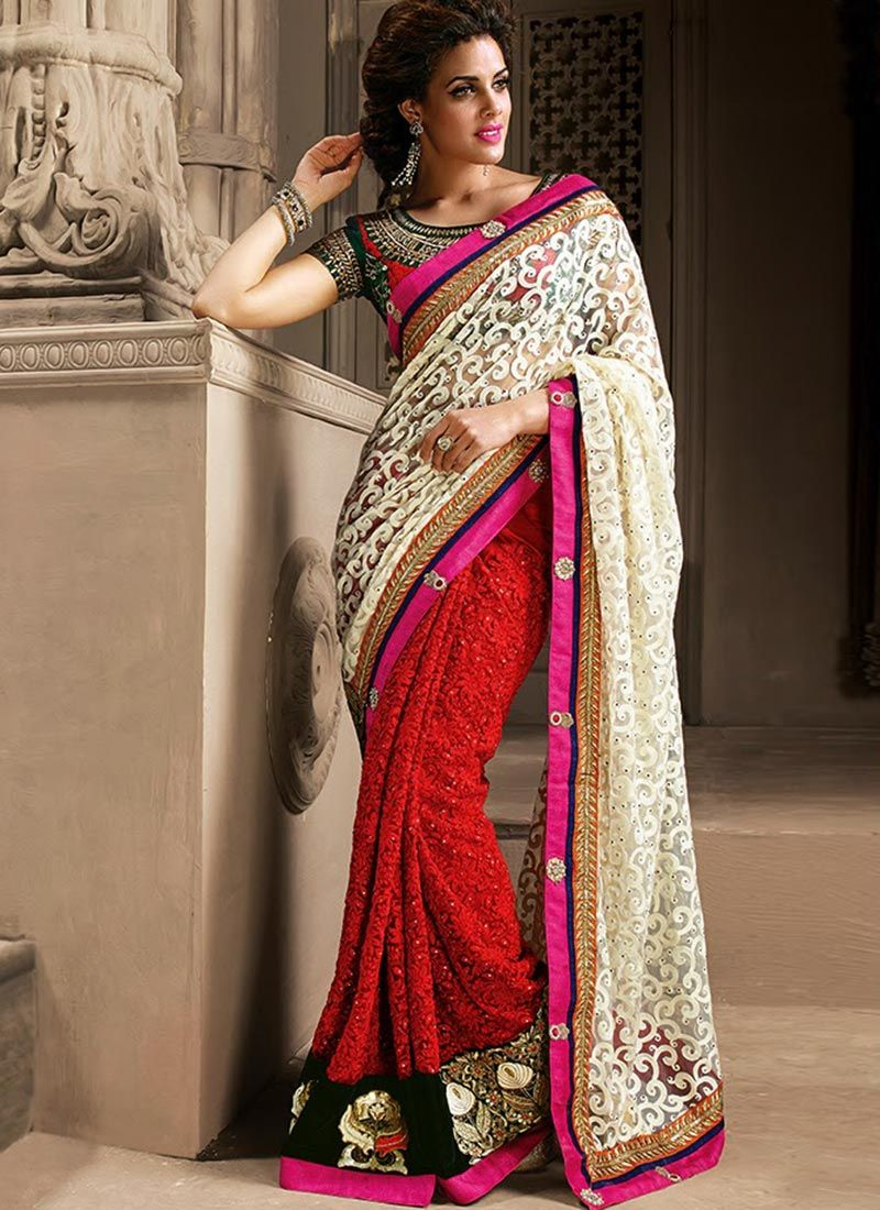 Awesome Red And Off White Shaded Embroidery Work Net Saree