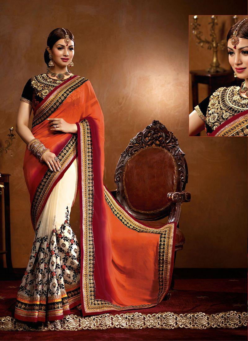Ayesha Takia Orange And Cream Georgette Designer Saree