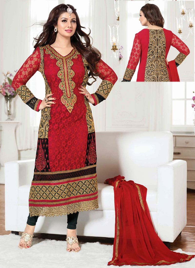 Ayesha takia red embroidery work churidar suit