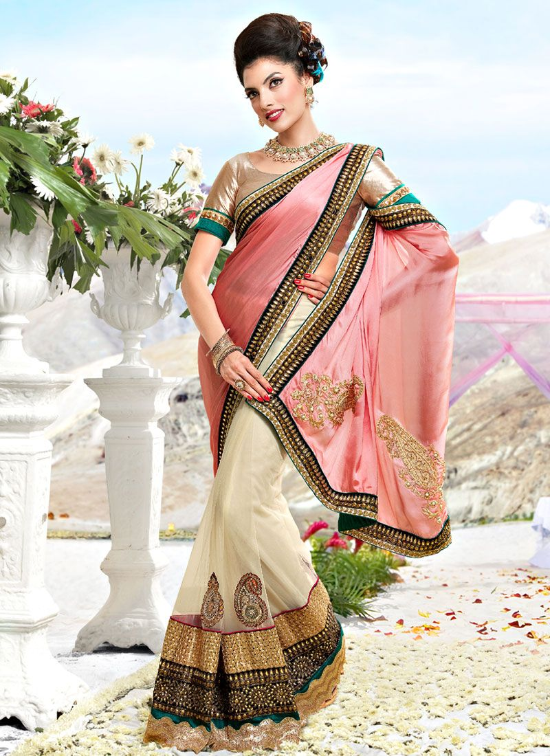 Baby Pink and Off White Satin and Net Saree