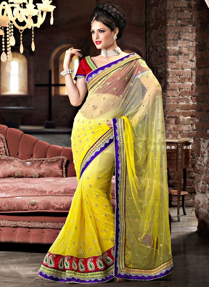 Beautiful Yellow Net Saree