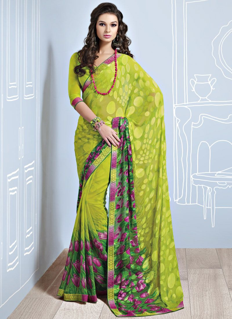 Beguiling Printed Brasso Saree