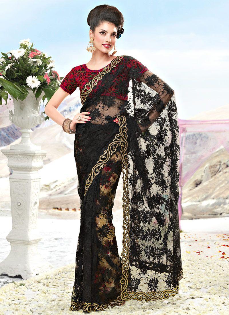 Black Fancy Net Saree