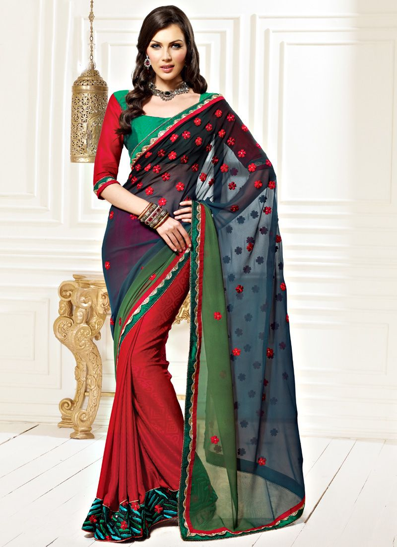 Blue and Green Faux Georgette Saree