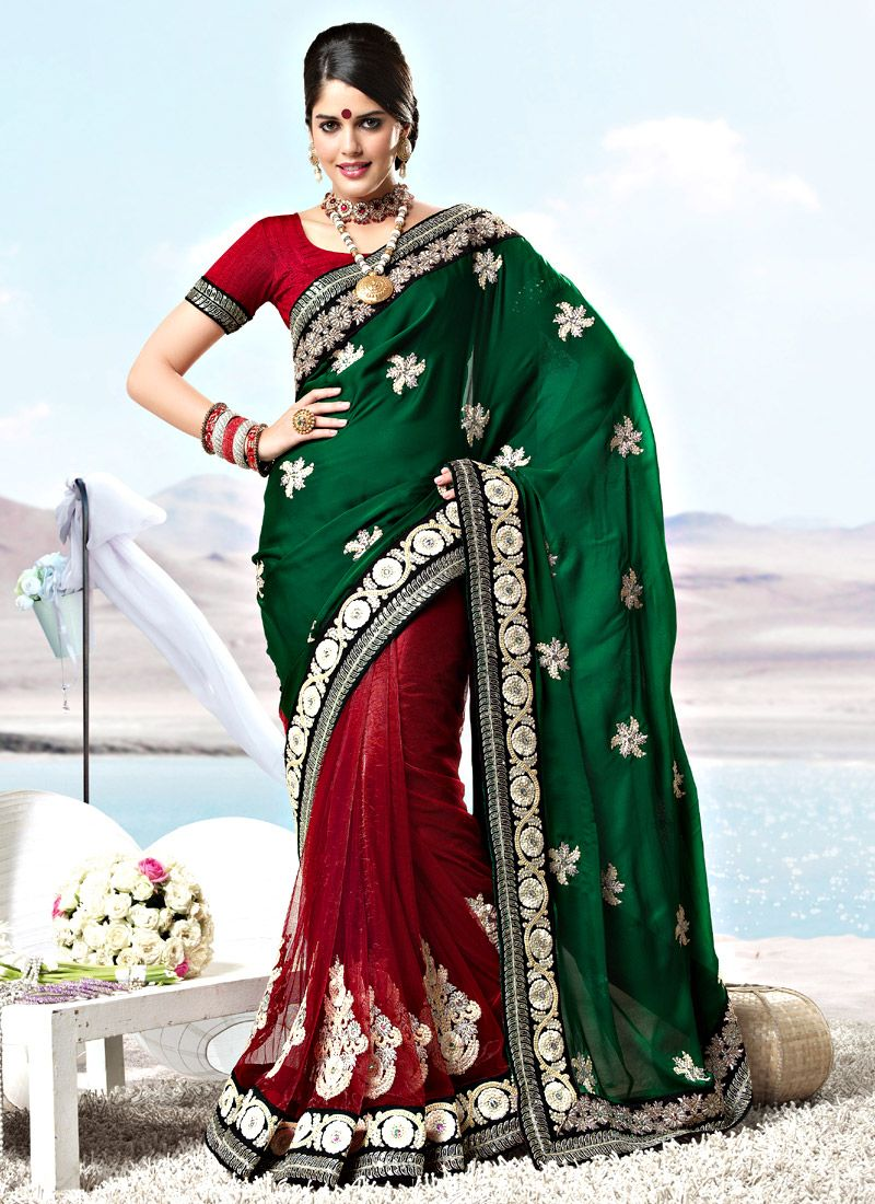 Bottle Green and Red Crepe Net Saree