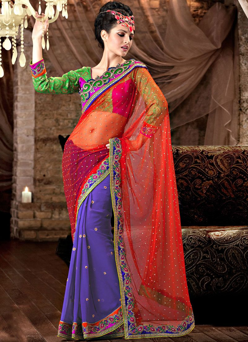 Half and Half Net Saree
