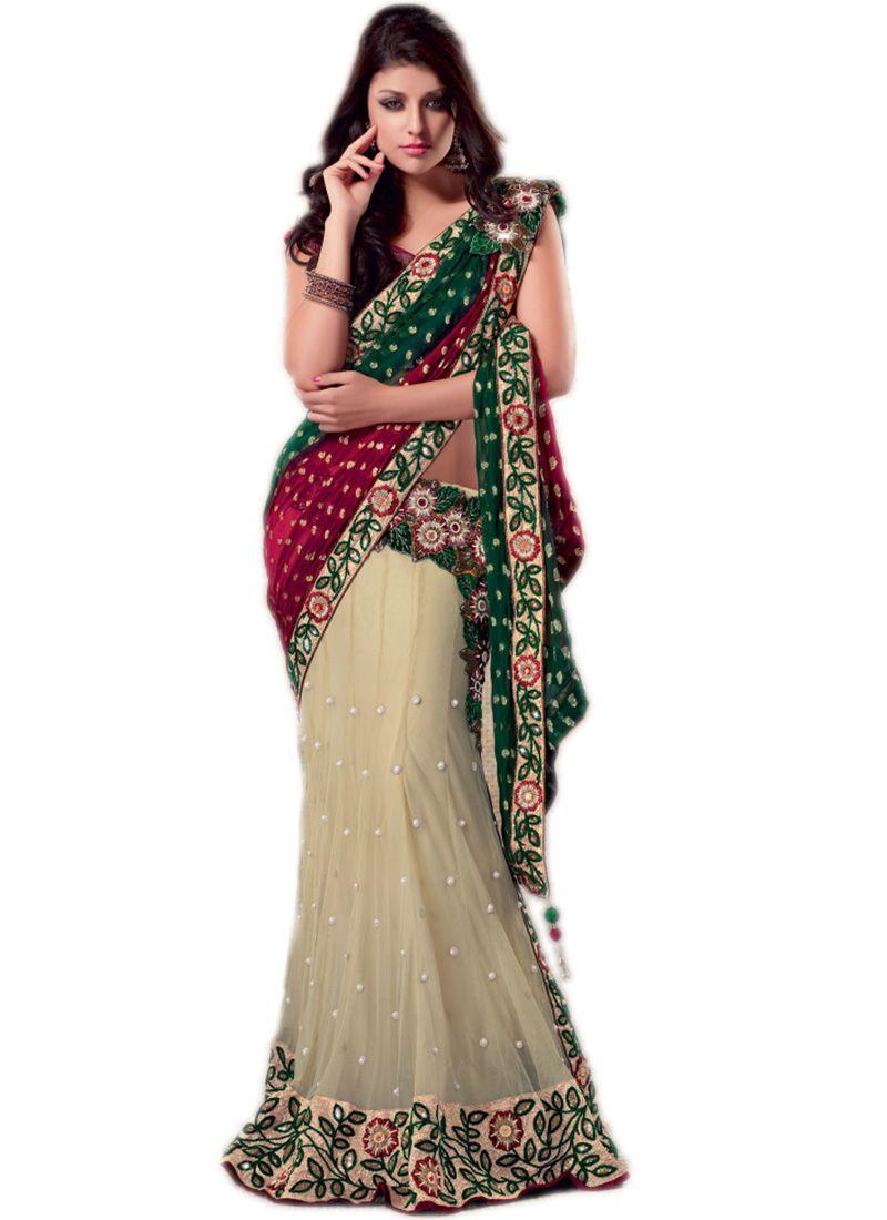 Tri Colored Lehenga Style Saree