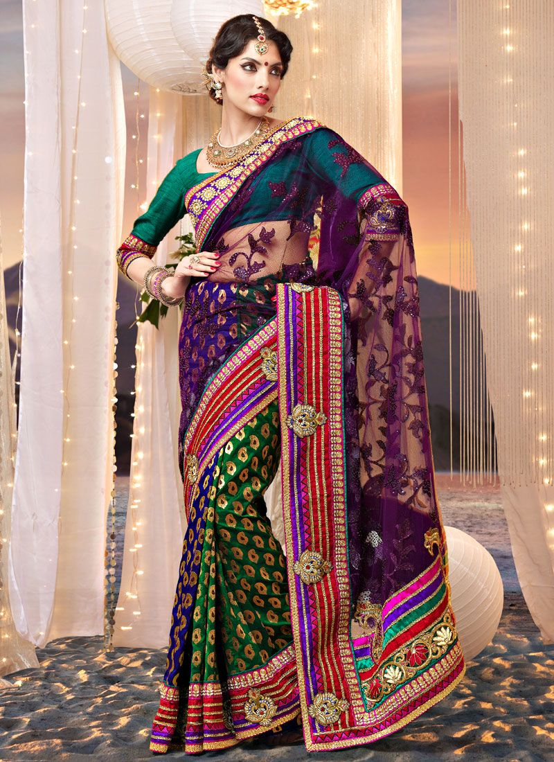 Dark Purple and Green Net and Viscose Saree