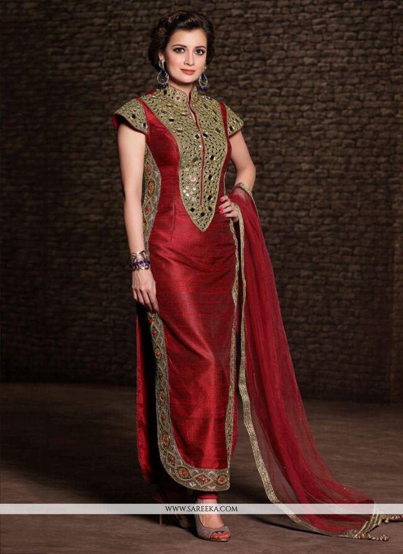 Diya Mirza Maroon Banarasi Silk Churidar Suit - Designer Salwar