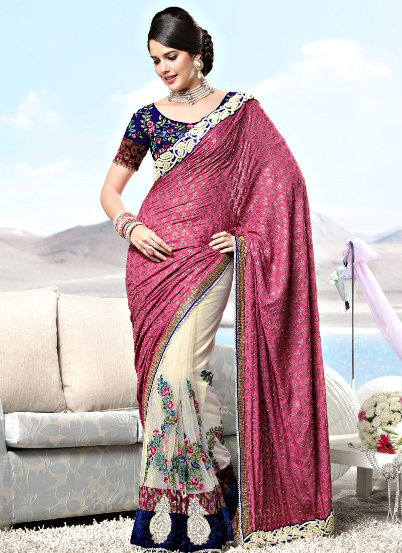 Dusty Pink and Off White Viscose and Net Saree