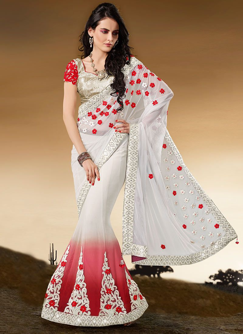 Electrifying White Faux Georgette Lehenga Saree