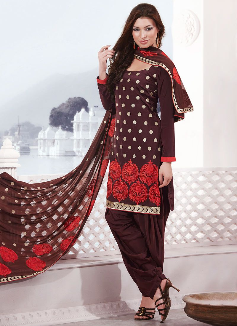 Brown Crepe Salwar Suit