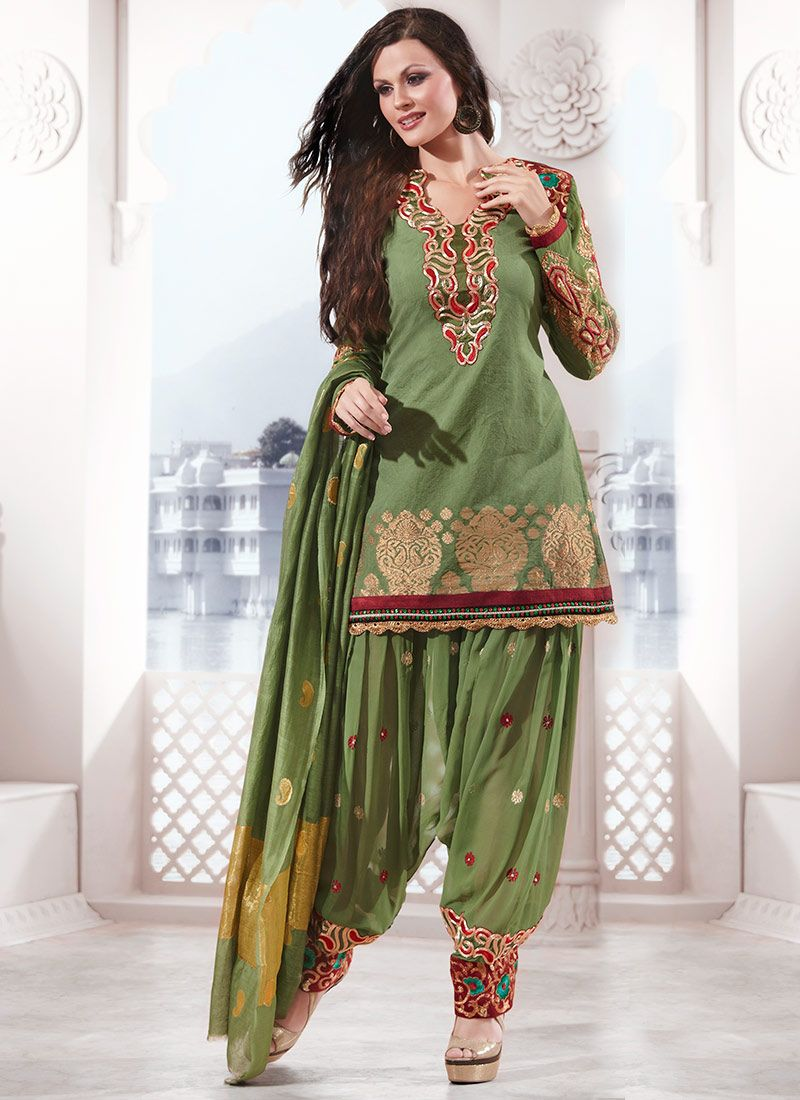 Exquisite Green Silk Cotton Salwar Suit