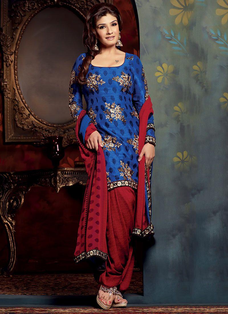 Fab Blue Bhagalpuri Silk Salwar Suit