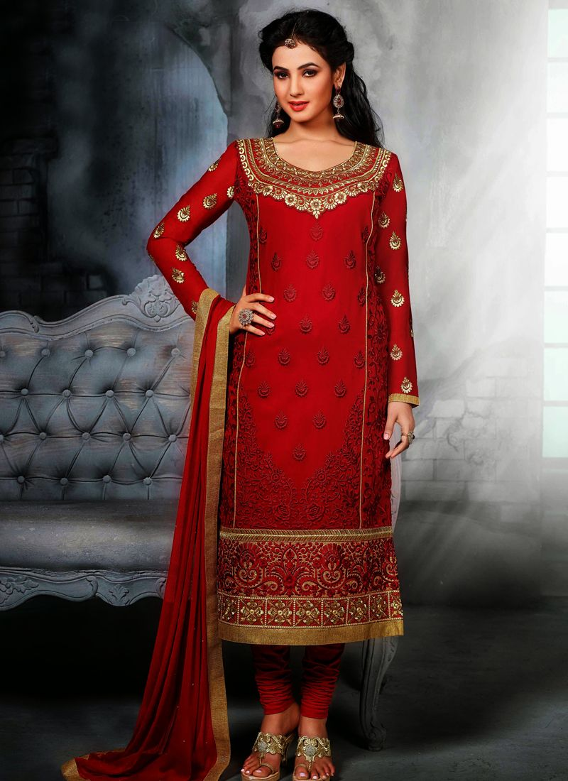 Fabulose maroon embroidery work churidar salwar suit