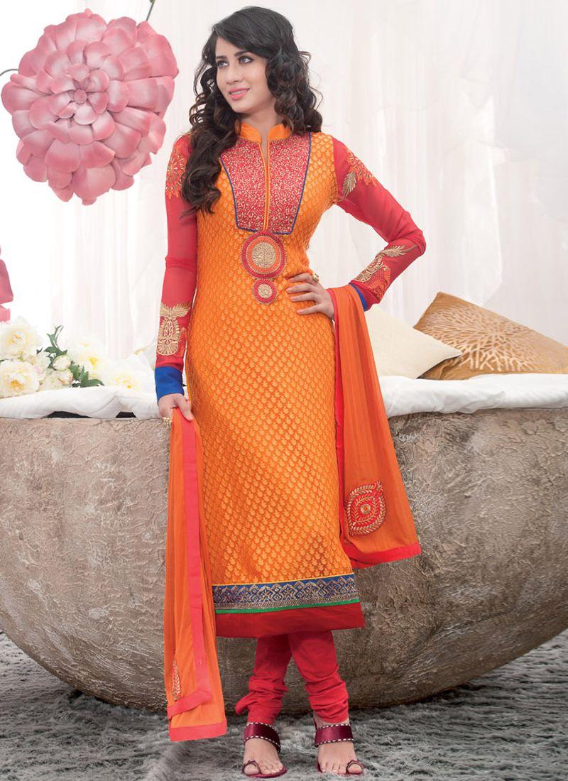 Fascinating orange embroidery work georgette churidar suit