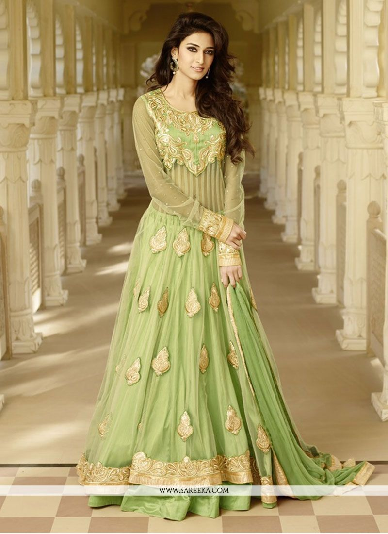 Floral green floor length anarkali suit for Floor length suits