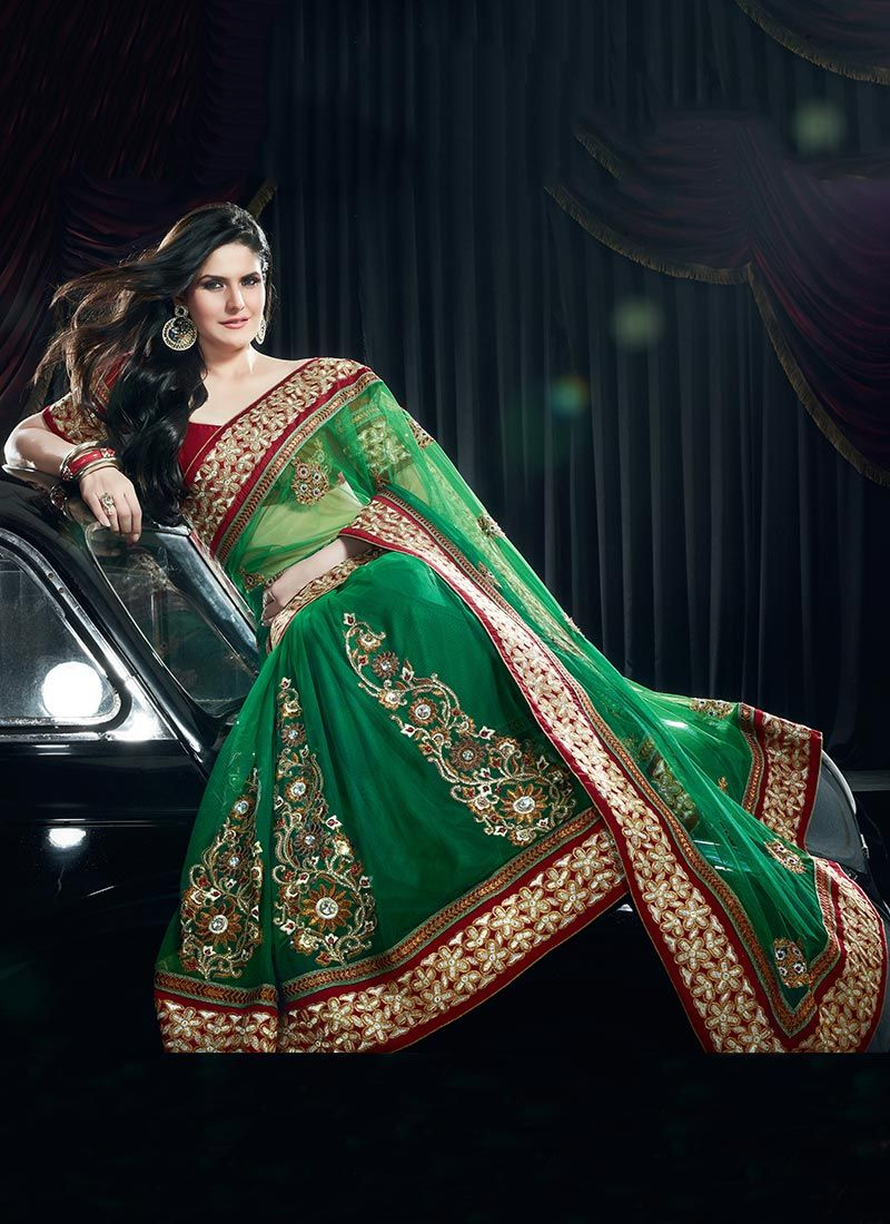Gorgeous Green Net Embroidered Saree
