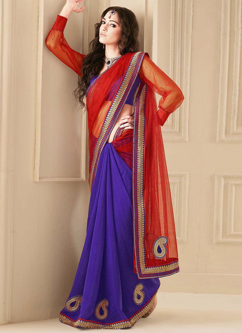 Gorgeous Red Half And Half Saree