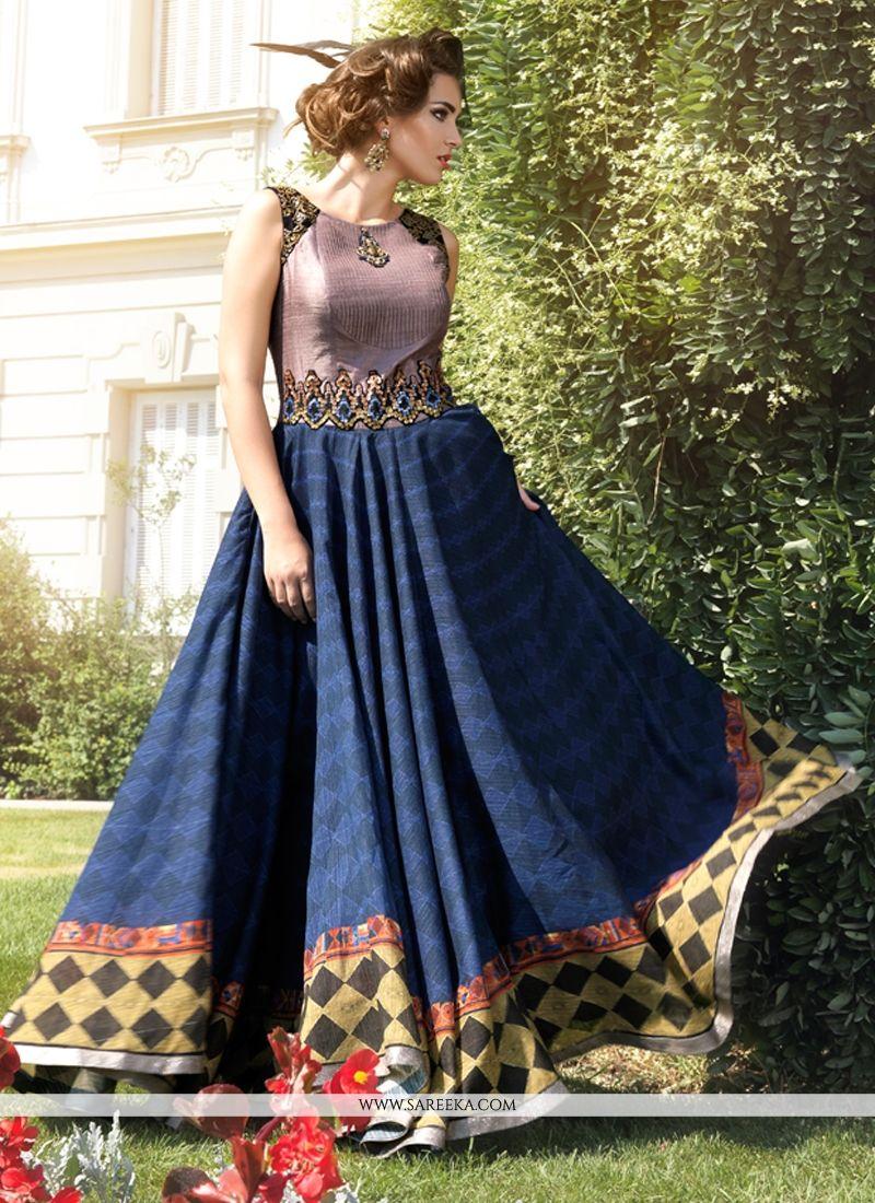 Impressive Bhagalpuri Silk Anarkali Salwar Suit