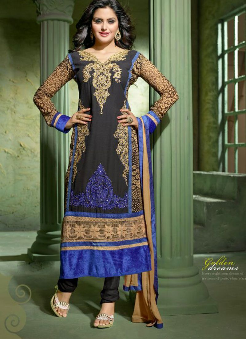 Latest black embroidery work churidar suit
