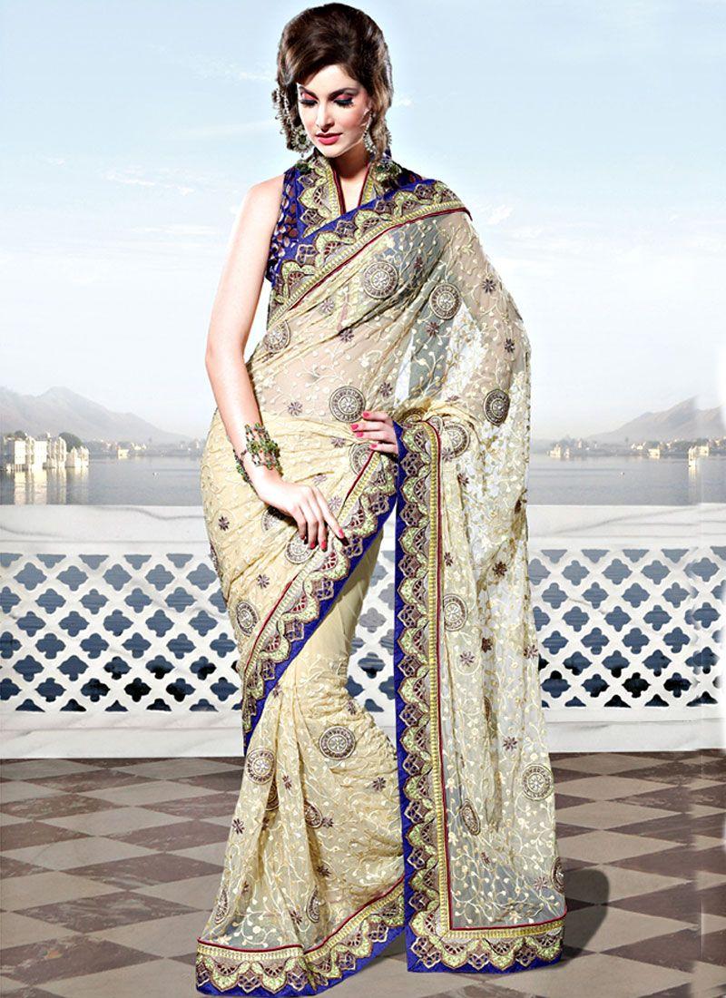 Light Fawn Net Saree