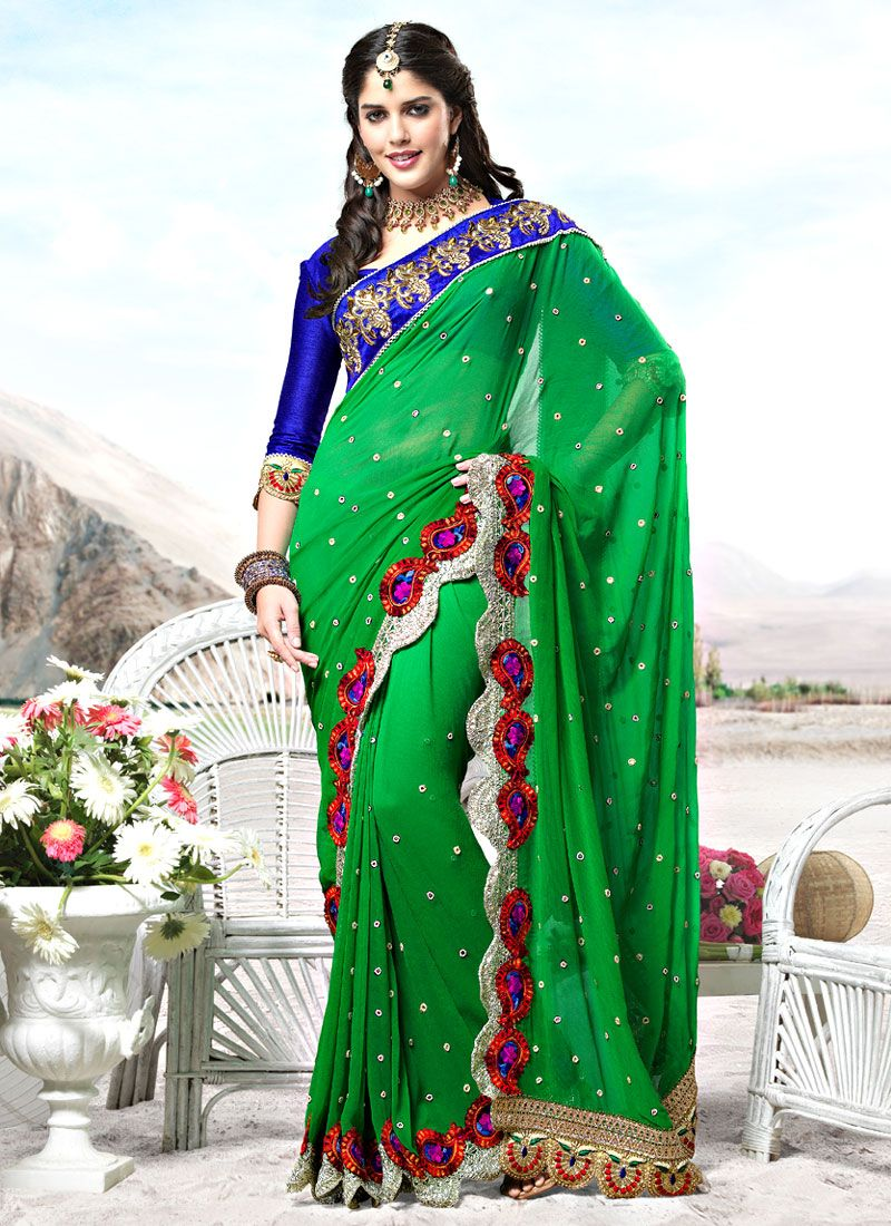 Light Green Faux Georgette Saree