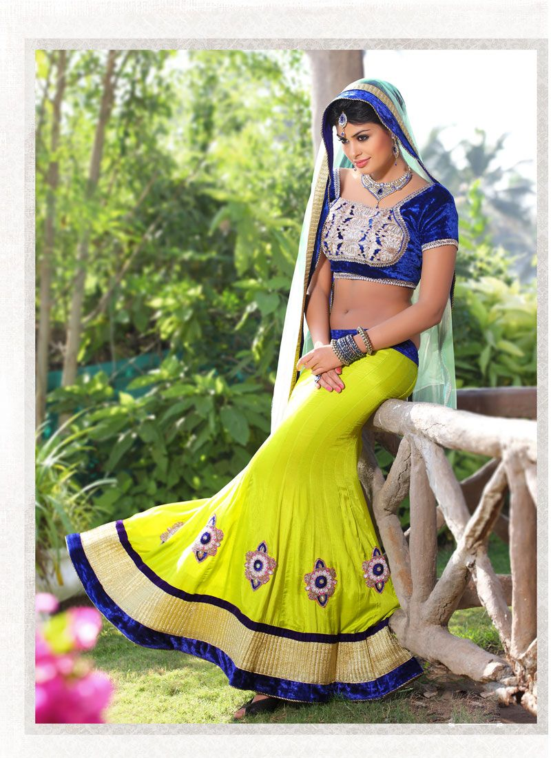 Pics photos combination of green and blue net lehenga - Blue and green combination ...