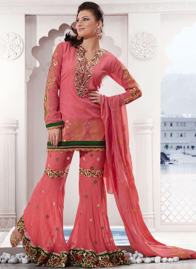 Pink Silk Cotton Sharara Suit