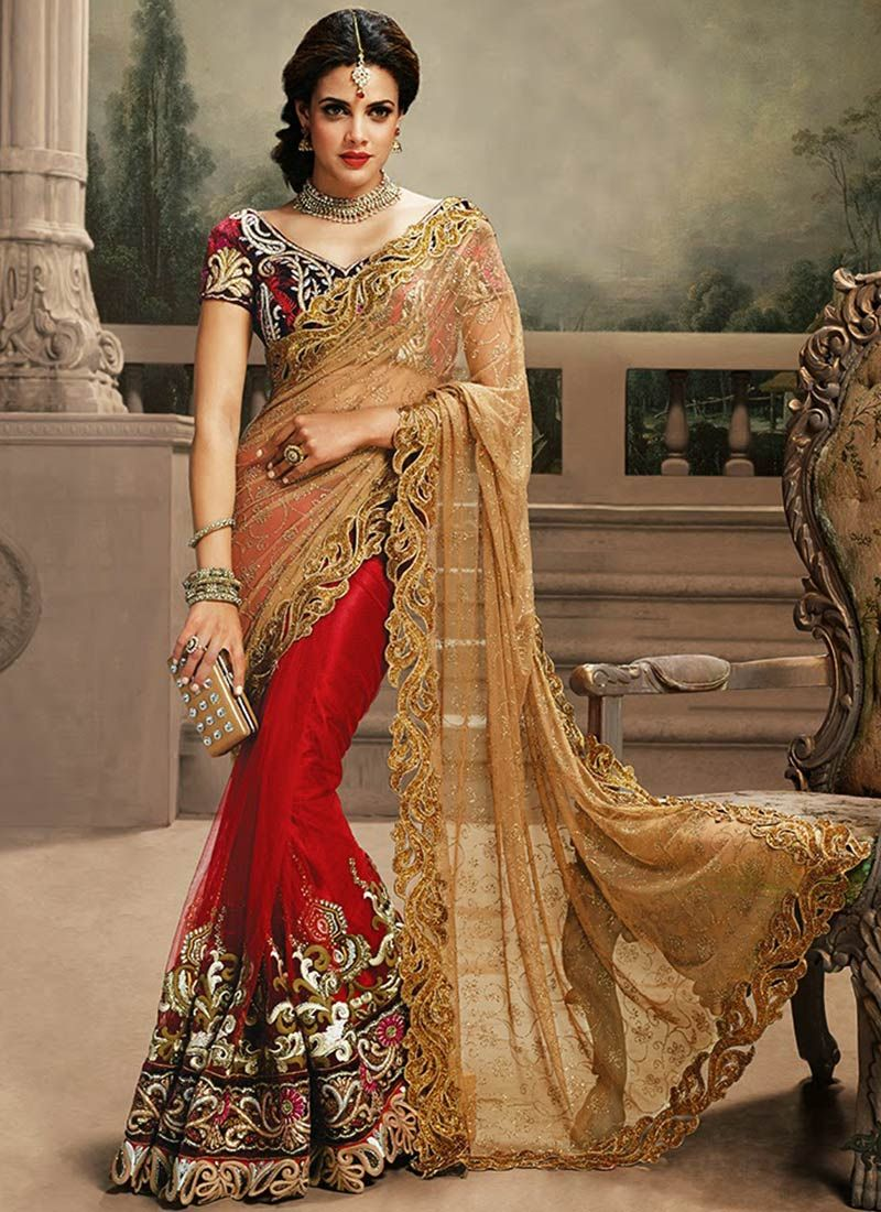 Lovely Red And Beige Shade Embroidery Work Net Saree