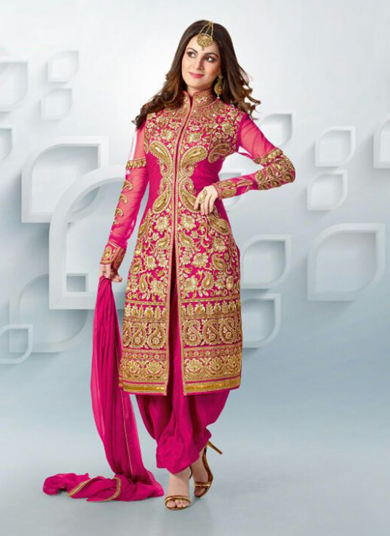Magenta zari georgette punjabi suit for Punjabi wedding dresses online