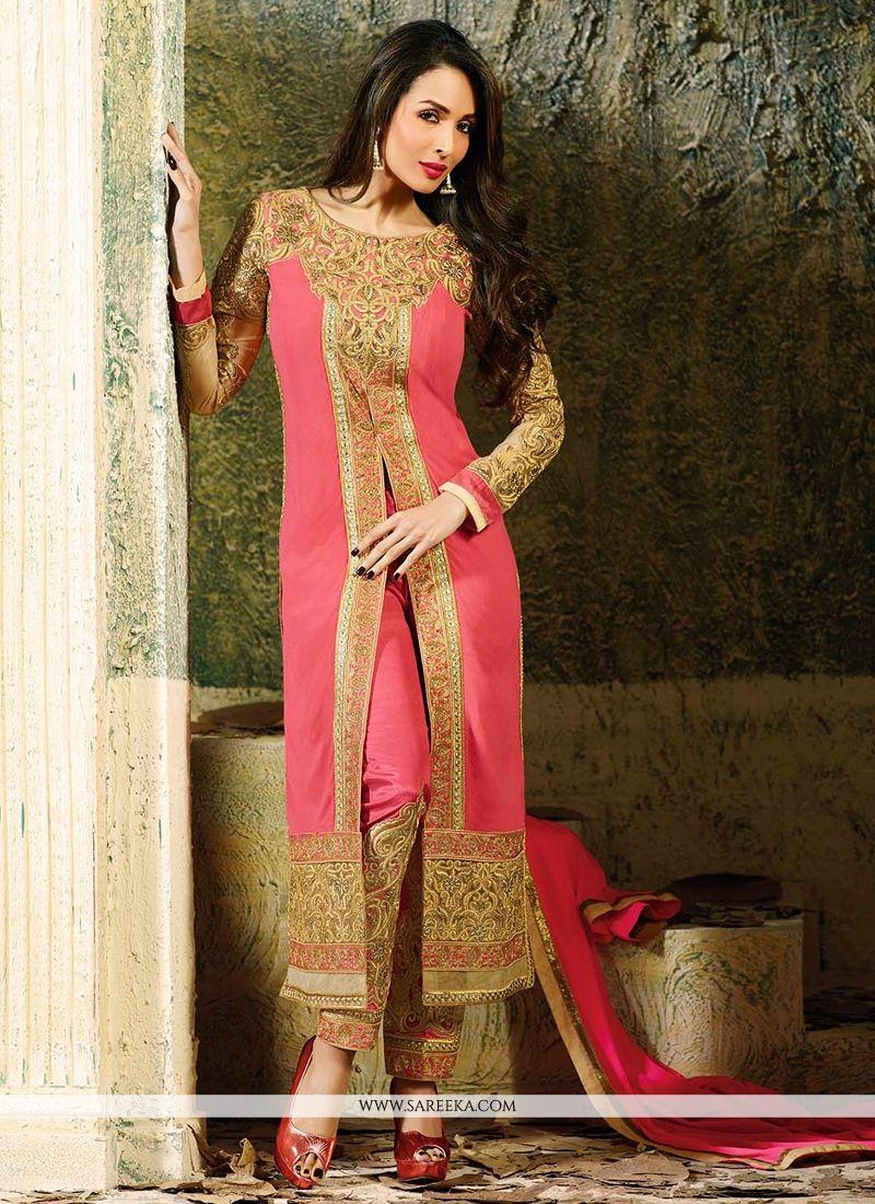 Malaika Arora Khan Pink Zari Work Pant Style Suit