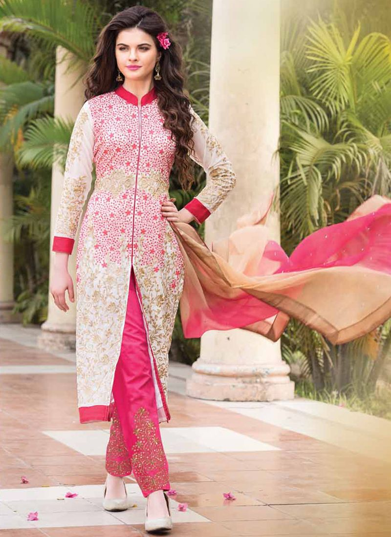Off White And Pink Embroidery Work Pant Style Suit
