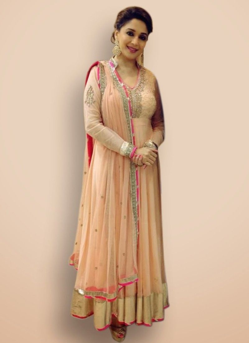 Outstanding Madhuri Dixit Peach Sequins Work Designer Suit