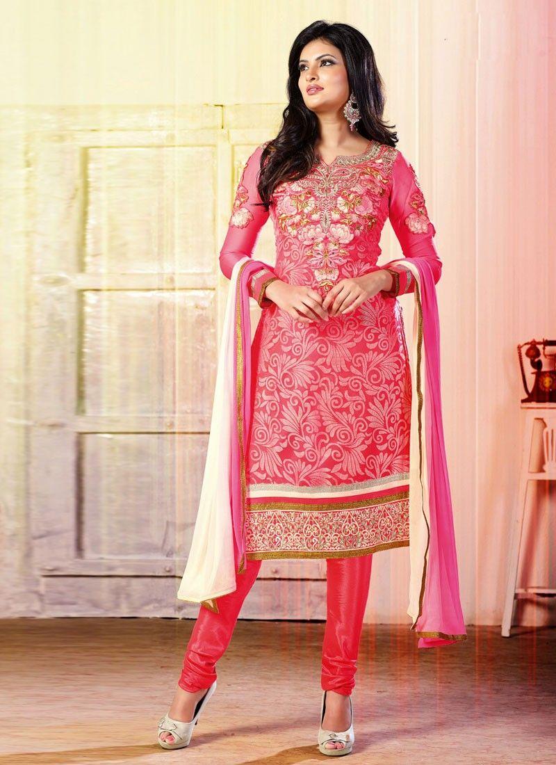 Pink embroidery work brasso churidar salwar suit