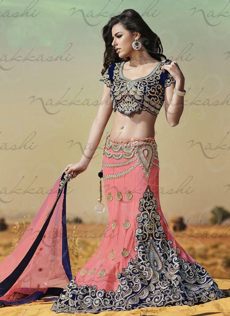 Pink Satin Bridal Lehenga Choli