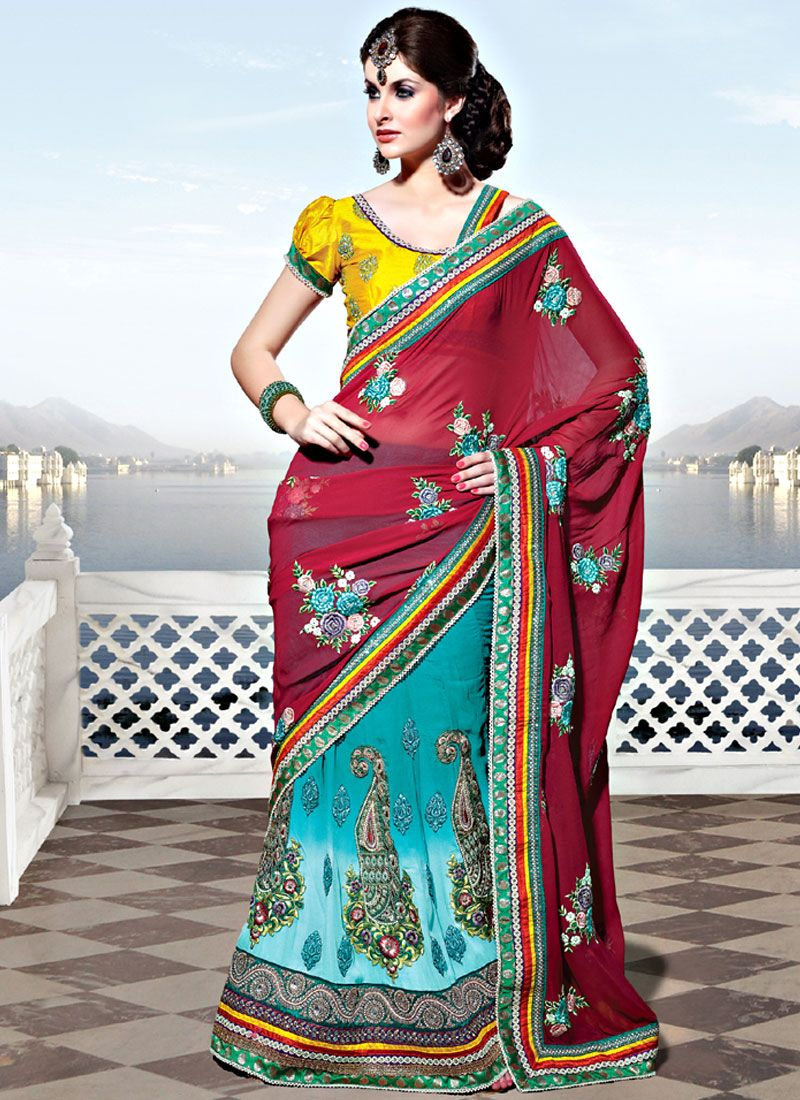 Red and Shaded Turquoise Georgette Lehenga Saree