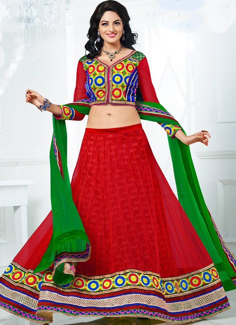 Lehenga in Red Colour Red Colour Net Lehenga Choli