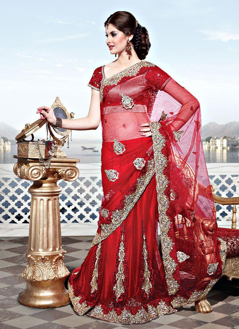Red Net Lehenga Style Saree