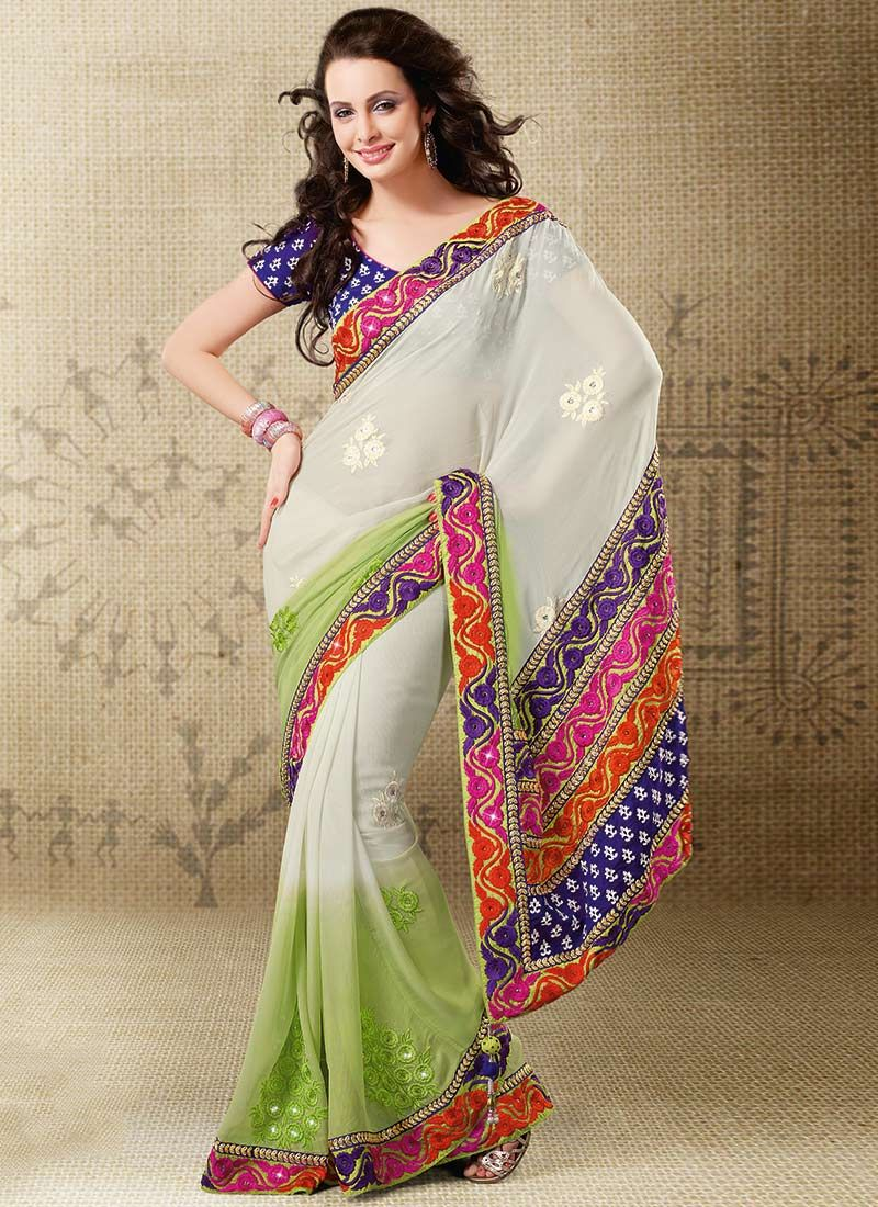 Shaded Off White And Pastel Green Chiffon Saree