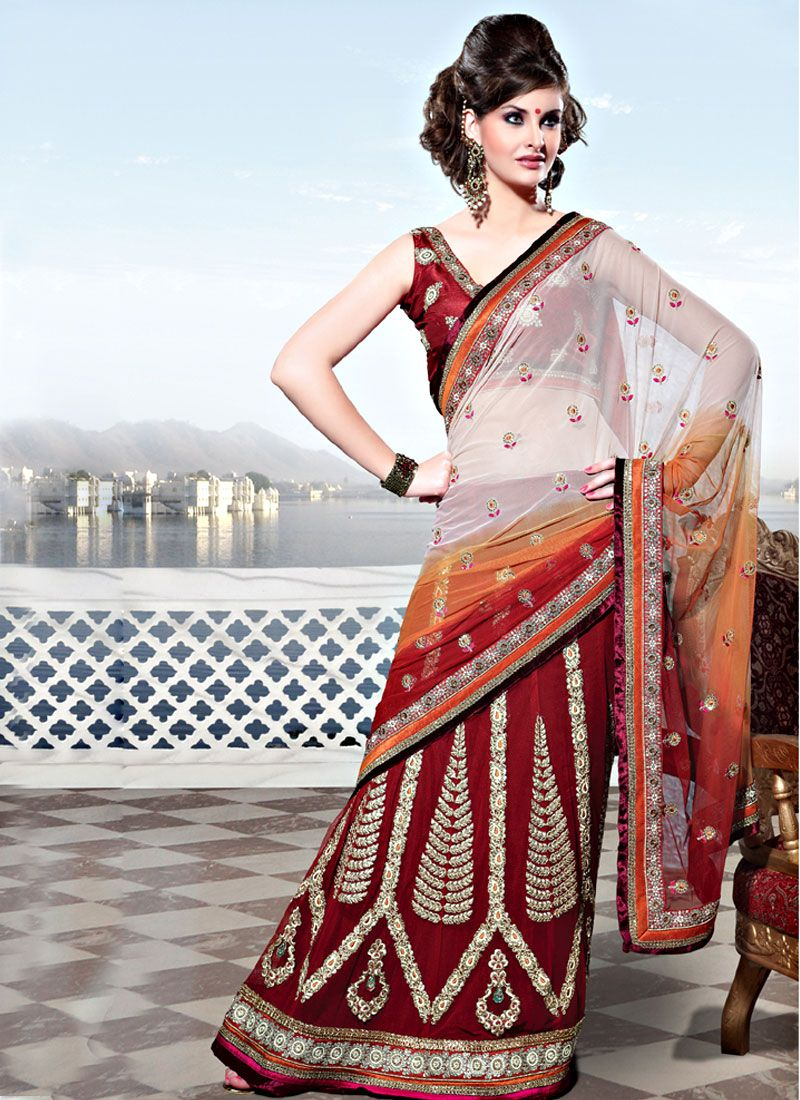 Shaded Off White and Red Net Lehenga Style Saree