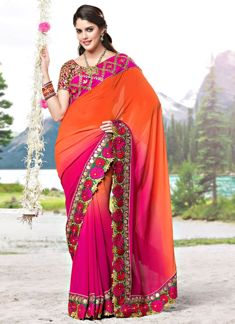 Shaded Orange and Rani Pink Faux Georgette Saree