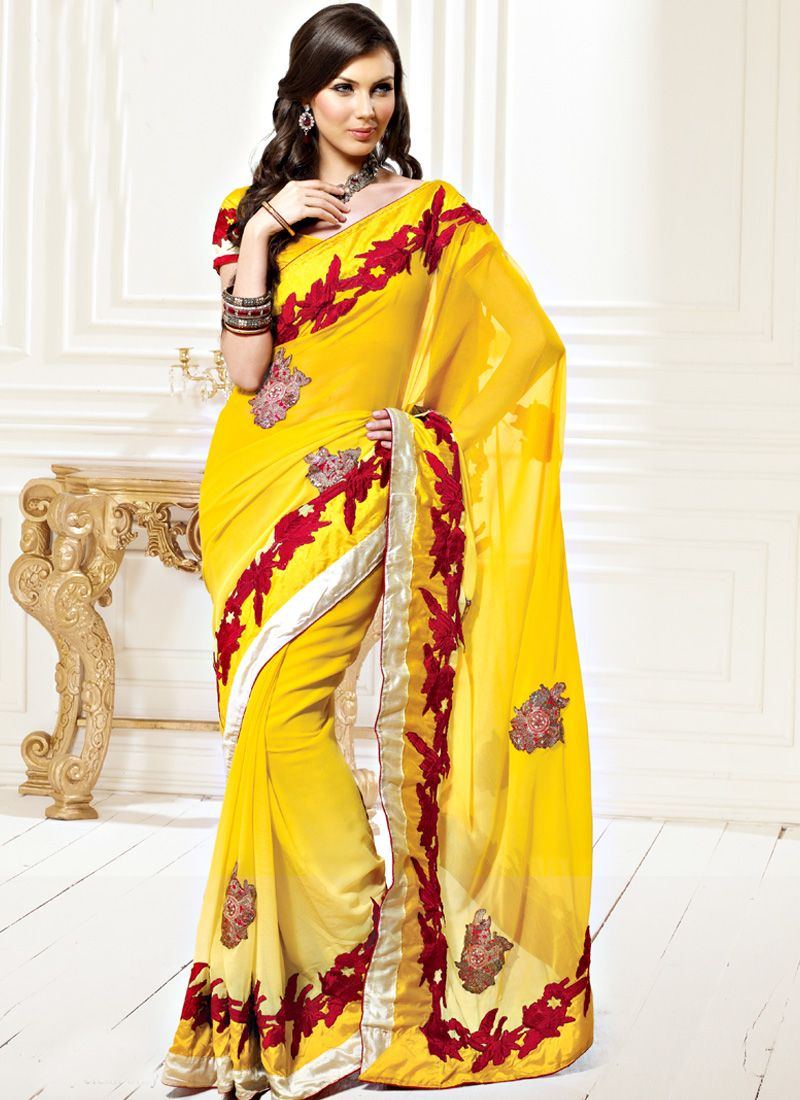 Shaded Yellow Faux Georgette Saree