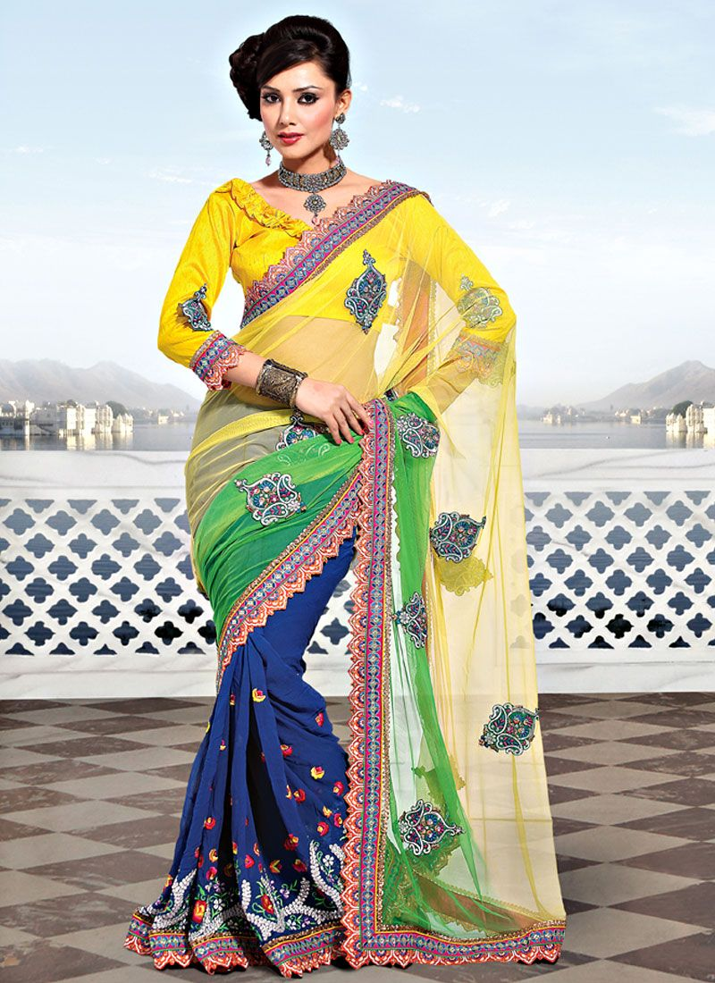 Shaded Yellow, Green and Navy Blue Net Saree