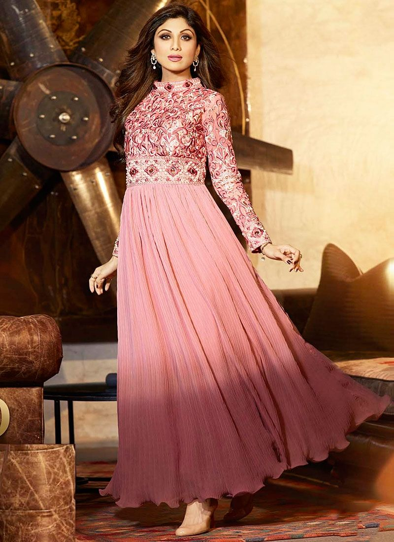 Shilpa Shetty Hot Pink Resham Long Anarkali Suit -