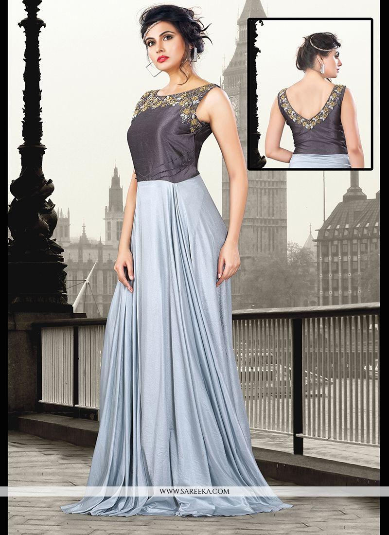 Sequins Work Art Silk Grey Floor Length Gown -