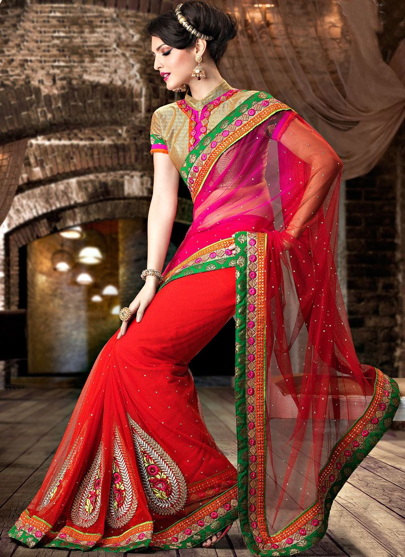 Sarees and Blouses Fashion: New Red net sarees collection awesome ...
